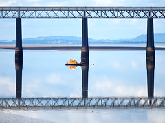 Criss cross reflections (nz_willowherb) Tags: rescue weather reflections scotland fife dundee guard calm estuary tay lowwater highpressure railbridge wormit safetyboat