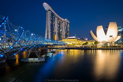 Helix Bridge (Skyholique) Tags: leica travel bridge sunset marina bay twilight sand singapore cityscape sightseeing landmark tourist helix superelmar