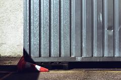 Toppled (Isengardt) Tags: street light shadow color composition germany deutschland licht europa europe mark linie olympus line container form shape farbe schatten komposition omd esslingen sonnenschein em1 pilon delle badenwrttemberg markierung strase 1250mm dotz