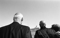 Street scenes (__ _) Tags: sea people urban blackandwhite film 35mm boat helsinki grain streetphotography highlights heads rodinal tones selfdeveloped selfprocessing eastmandoublex bwxx