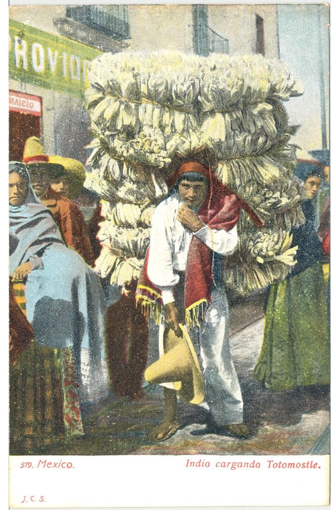 Mexican Postcard Totomoxtle Teyacapan Tags Men Vintage Antique Markets Postcards Cargador