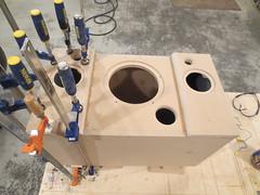 Gluing on speaker baffles (burritobrian) Tags: diy speaker boombox overnightsensations speakerbuild sd215a88