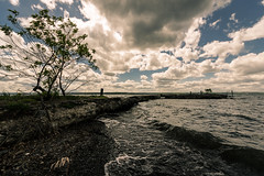 Port After Stormy Seas | Willard (FloodSpectre) Tags: sky lake tree abandoned nature water stone clouds landscape dock waves urbanexploration crumbling ue senecalake urbex tumblrd canoneos60d sigma816mmf4556dchsmultrawidezoom