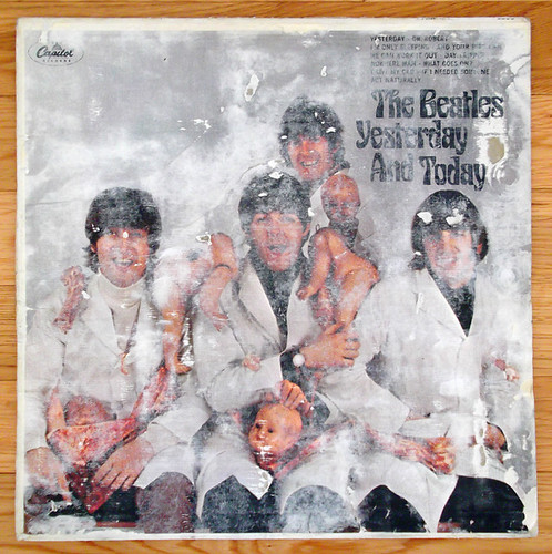 5,000th PIC - Old Beatles Butcher LP Record Cover w/ Bad Peel - 5,000th PIC