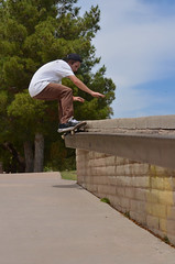 Josh Pineda - FS 50-50 (PINEDA9) Tags: trees sky tree clouds nikon skateboarding flash flashphotography ollie skatepark skate skateboard scottsdale depth 5050 tempe ariznoa d5100