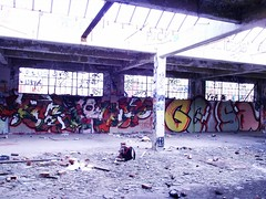 Raskoe Jane Gesa (The Razmatazz) Tags: blue red urban canada building sexy abandoned broken window beer look dead grey graffiti back weed paint day colours grafitti pieces jane quebec montreal character treats spray awsome pack roller ta pice skill pouty gesa raskoe enoma