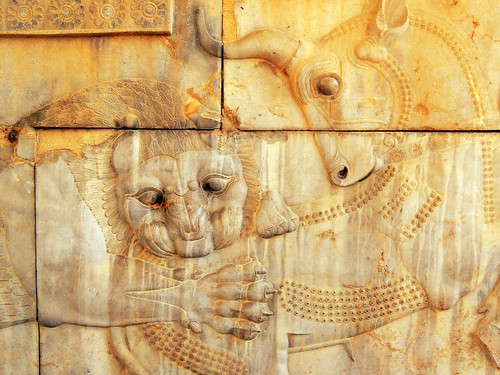 Lion eating bull Persepolis relief