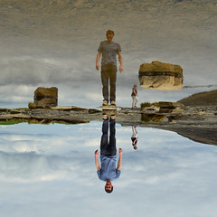 Moher.II (Kevin.Donegan) Tags: ireland portrait sky selfportrait reflection water pool rock clouds clare upsidedown cliffs clear shallow cliffsofmoher moher inv