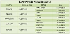 ΚΑΛΟΚΑΙΡΙΝΕΣ ΑΙΜΟΔΟΣΙΕΣ 2013