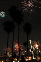 LA Celebrates the 4th (Seeing Visions) Tags: california ca city longexposure urban holiday silhouette night lights la us losangeles unitedstates fireworks multipleexposure palmtrees 4thofjuly independenceday 2013 raymondfujioka jpuses