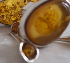 Yellow amber (MaggsMep (back in the car park)) Tags: yellow silver amber earring ring jewellery pendant macromondays