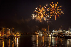 fireworks 010813 9475 (Mark Rigler UK) Tags: light england night work fire boat ship shot harbour no flash low firework quay dorset sail poole sunseeker