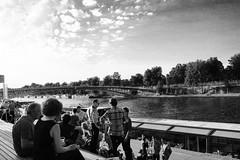 Relax in Paris. (ginevracu) Tags: city sky people panorama paris clouds canon relax landscape pano panoramas panoramic orsay senna parigi
