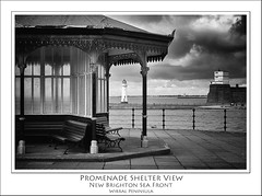 Promenade Shelter View, New Brighton (Mike Parr) Tags: blackandwhite river mono blackwhite riverfront shelter wirral newbrighton merseyside rivermersey wirralpeninsula newbrightonlighthouse mikeparr perchrocklighthouse flickriver opencultureliverpool mikeparrphotography fortpearchrock
