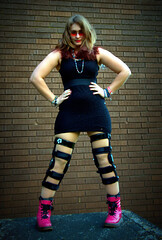 Amateur Modelling (Purl Beads Jo) Tags: pink black necklace beads student university hand dress braces boots little fierce leg jo jewellery syndrome made study bracelet bead dye knee dip cip southall lbd disability ehlers purl danlos hypermobility hypermobile
