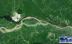 Naissance de l'Amazone - les eaux mles (ixus960) Tags: chaos terre googleearth laterrevueduciel imagesatellite