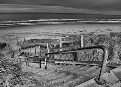 Scheveningen beach (Jayhopephotography) Tags: sea blackandwhite white black holland beach monochrome coast seaside sand cloudy zwartwit nl wat atmospheric scheveningenbunkers jayhope