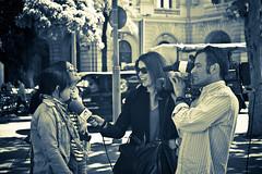 On Air (Aleksandar Kumanov Street | Travel | Fine Art |) Tags: barcelona street girls bw canon vintage lens 50mm prime spain with shot candid air reporter cheeky dslr