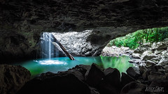Natural Bridge - Inside (jasoncstarr) Tags: longexposure panorama green water canon landscape waterfall sigma panoramic naturalbridge cave 1020mm hdr springbrooknationalpark 60d canoneos60d