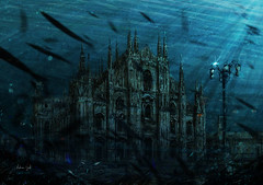 Underwater Milan Cathedral (http://www.agatti.com) Tags: world ocean santa school sea italy fish milan art texture abandoned church water saint digital swimming photoshop painting artwork ruins italia mare underwater arte expo cathedral maria andrea milano mary ruin chiesa exposition pesci piazza duomo submerged sunk wreck lombardia gatti sss vita energia esposizione cattedrale nascente rovine mondo nascent 2015 universale guglia pianeta sommerso nutrire sommersa agatticom expo2015