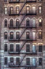 New York fire escape in Bowery, Manhattan. USA