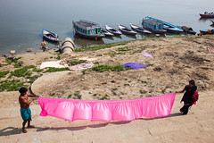 Dry laundries (Dick Verton ( more than 13.000.000 visitors )) Tags: travel pink india river boats asia laundry varanasi washing ganges