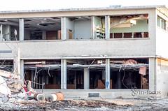 View into Library downstairs (The Developing Tank) Tags: city school abandoned oklahoma broken john graffiti high pentax decay destruction library demolition marshall highschool okc k5 johnmarshall abaondoned