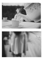 'Oh Alice dear, we're all mad here!' (--Arya--) Tags: white black film analog surrealism 4 olympus 101 mm om 35 fp ilford aliceinwonderland diptic om101
