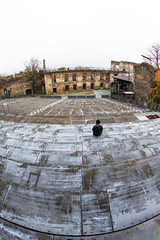 Alone (C_MC_FL) Tags: old woman architecture canon person photography eos austria waiting theater alone sitting fotografie alt empty leer watching sigma row fisheye arena seats architektur frau warten sitzen 10mm weitwinkel loweraustria reihe alleine fischauge sitzpltze 60d garsamkamp hintereinander burggars