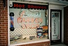 Bernies (David Swift Photography Thanks for 16 million view) Tags: windows signs film 35mm newjersey olympusstylusepic doors barbershop storefronts oceancity neonsigns oldsigns kodakportra davidswiftphotography