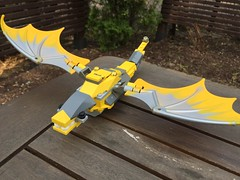 Legless Dragon (levispawn) Tags: castle yellow fire wings dragon lego fantasy knight legless