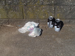 Two pints and two nappies! (j.a.sanderson) Tags: beer streetphotography litter nappies lager beercans carling