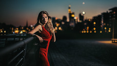 Bokehlicious Nights (Vicco Gallo) Tags: red girl beauty night colorful dress bokeh violet speedlight speedlite strobist