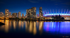 BC Place Blue (Clayton Perry Photoworks) Tags: blue canada skyline night vancouver buildings reflections lights bc falsecreek bcplacestadium hirises explorebc explorecanada
