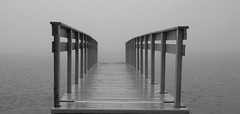 Where Are You Going, Where Have You Been? (Ib Aarmo) Tags: sea mist water fog pier outdoor rails