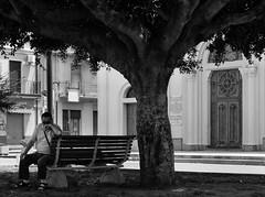 Resa (bauscia99) Tags: street old blackandwhite bw italy man tree church italian italia streetphotography calabria biancoenero surrender resa pensiero arresa
