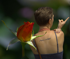 Poppies & Opals (swong95765) Tags: woman flower tattoo lady female bokeh pointing