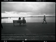 passing-by (fitzhughfella) Tags: blackandwhite rangefinder 120film 6x9 analogue southamptonwater mayflowerpark fujigsw690iii