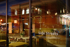 side streets (Ian Muttoo) Tags: toronto ontario canada reflection art caf night reflections lowlight gimp installation ufraw sidestreets shiftn micahadams thetheatrecentre amandamccavour dsc59521editshiftn thetheatrecentrecaf
