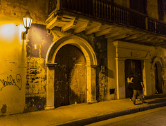 Night Watch (Joyce and Steve) Tags: city light urban yellow night streetlight colombia arch nightscape cartagena romanarch
