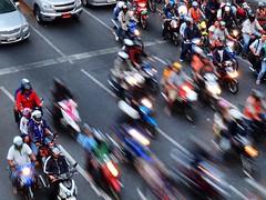 Bangkok - Trafic light turns to green (sharko333) Tags: travel reise voyage asia asien asie thailand thailande bangkok people traffic street vehicle car motorcycle olympus e5