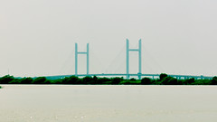 Bridge in Mist (katushang) Tags: china bridge blue summer color water heilongjiang river daylight nikon siberia  nikkor dslr fareast harbin dx haerbin 105mm 2016  105mmf28  nikkor105mmf28g 105mmf28gedvr d5100 nikond5100 fxlensondxcamera fullframelensoncropsensor fxlensonadxcamera