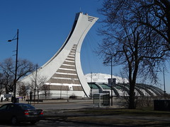 Montreal. Parc Olympique from the 1976 Olympic Games. The Tower. Le Tour.  The worlds highest leaning tower 585 feet high. (denisbin) Tags: bridge church skyline catholic montreal biosphere dome racoon olympicstadium olympicpark oratoirestjoseph parcdumontroyal parcolympique mountroyalpark staqdeolympique