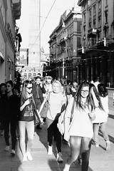 One man and so many women (laetitia.delbreil) Tags: monochrome noiretblanc blackandwhite bw nb bn blancoynegro outdoor bologna streetphotography film pellicule pellicola ifeelfilm westillcare ishootfilm jesuisargentique filmisback filmisalive filmisnotdead argentique analogico analog