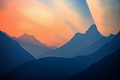 Dramatic sunrise over the mountains near Namche Bazaar on the route to Everest base camp, Nepal (CamelKW) Tags: nepal sunset mountains sunrise dramatic bazaar everest basecamp namche