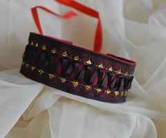 Dark royalty (ceressiass) Tags: red black girl promotion metal shop modern dark store punk handmade vampire sewing gothic goth royal lolita etsy collar royalty thick choker