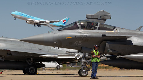 Rafale M and 747-8F.