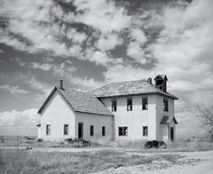 Abandoned School - Arlington, CO (Christopher J May) Tags: school blackandwhite bw abandoned film arlington colorado kodak plains yashicamatlm yashicamat ektar silverefex
