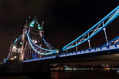 Tower bridge London (technodean2000) Tags: bridge blue england london tower water thames architecture night river lights nikon waterfront outdoor hour lightroom d610