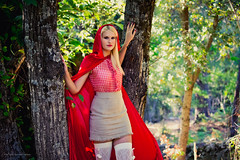 Lisy.W. By Corsu. (By Corsu) Tags: 0027 lisy by corsu canon eos 6d 100400 l femme woman women teen teenage girl fille red riding hood chaperon rouge foret forest cape blonde hair arbre tree panier visage face portrait tte head lightroom preset flickr shooting modle model